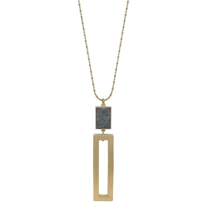 "Gray with Gold Rectangle 34"" Necklace"