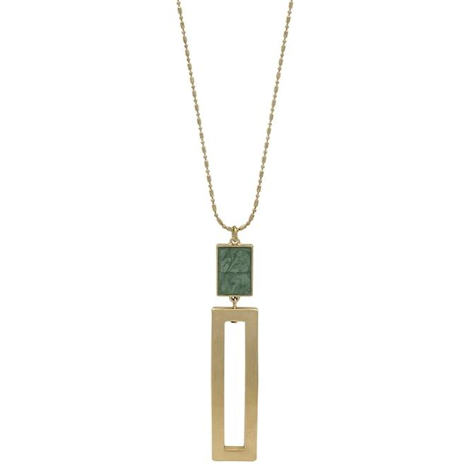 "Mint with Gold Rectangle 34"" Necklace"