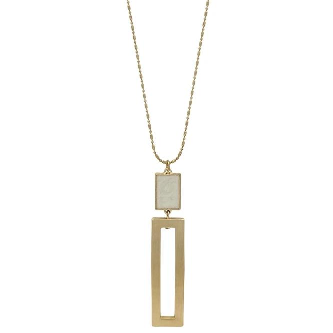 "Natural with Gold Rectangle 34"" Necklace"