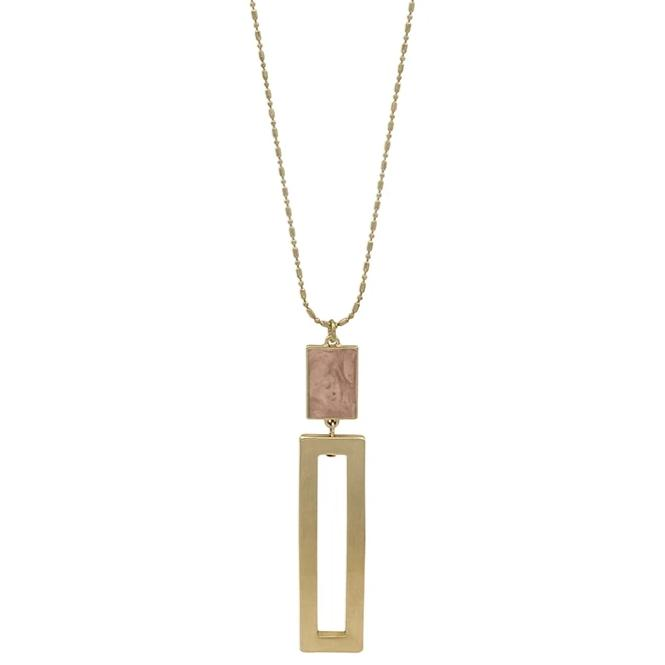 "Blush with Gold Rectangle 34"" Necklace"