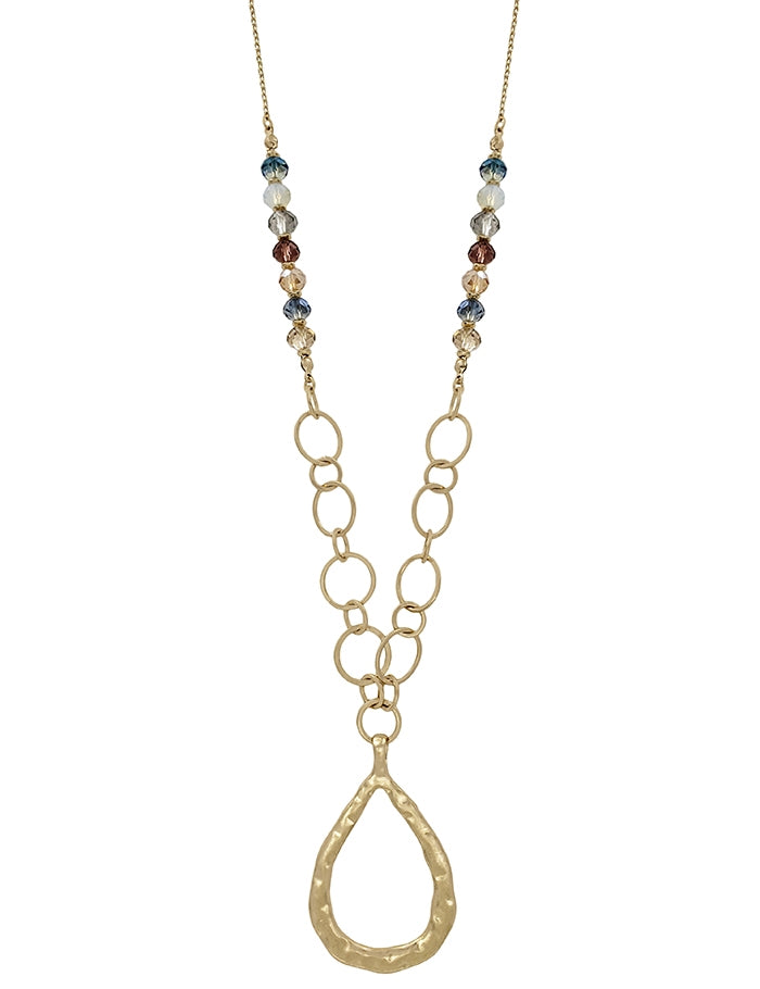 "Multi-Color Crystal and Gold Teardrop 34"" Necklace"