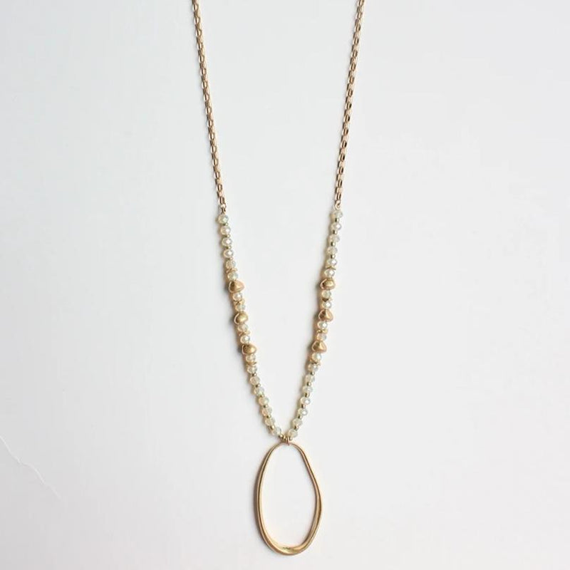 "Oval and Natural Crystal 34"" Necklace"