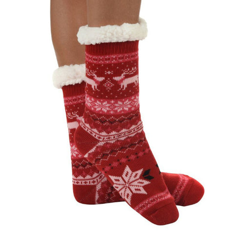 Snoozies!® Sherpa Lined Knit Socks in Nordic Red