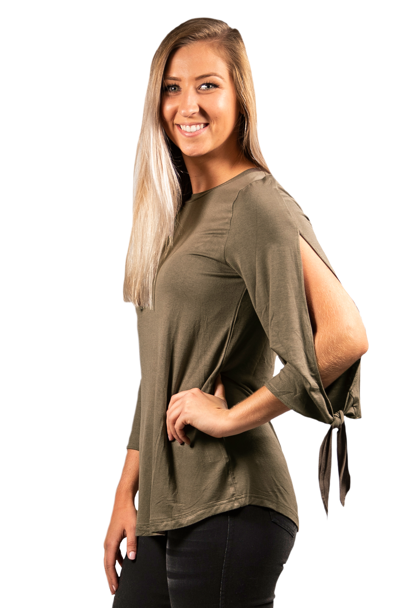 Simply Southern Knot Sleeve Top in Olive