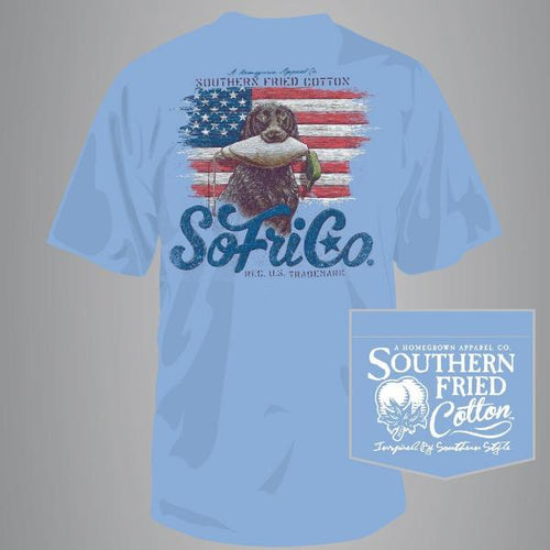 "Southern Fried Cotton Short Sleeve ""Scout"" Tee in Faded Jeans"