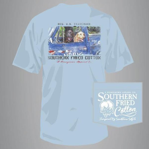 "Southern Fried Cotton Short Sleeve ""Hardly Workin'"" Tee in Southern Sky"