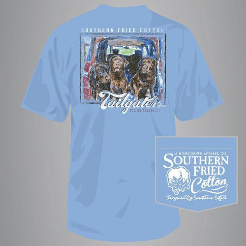 "Southern Fried Cotton Short Sleeve ""Tailgaters"" Tee in Faded Jeans"