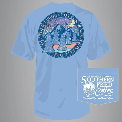 "Southern Fried Cotton Short Sleeve ""Wander the Wilderness"" Tee in Faded Jeans"