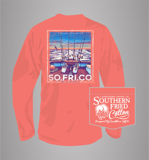 "Southern Fried Cotton's ""The One That Got Away"" Long Sleeve T-Shirt in Cayenne"