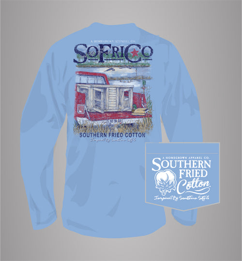 "Southern Fried Cotton's ""Out For the Hunt"" Long Sleeve T-Shirt in Faded Jeans"