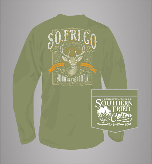 "Southern Fried Cotton's ""8 Point Buck"" Long Sleeve T-Shirt in Olive"