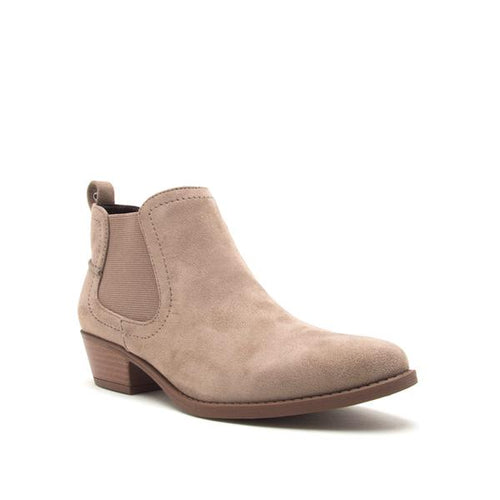 Evans Stretch Suede Bootie in Taupe