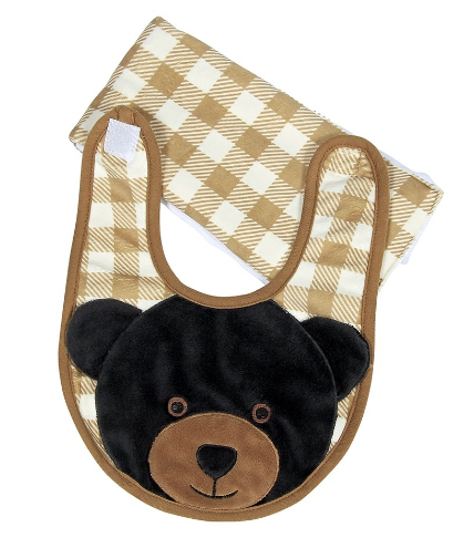 Griffin the Black Bear Boxed Bib & Burp Cloth Set