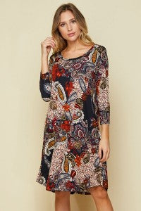 Callie PLUS Paisley Dress in Navy and Red