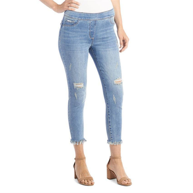 OMG Distressed Frayed Capri in Light Denim