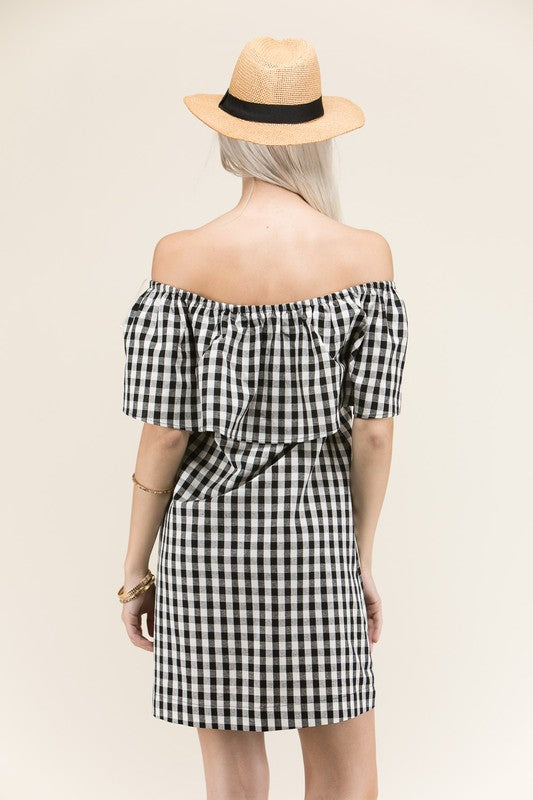 Danielle Gingham Dress in Black