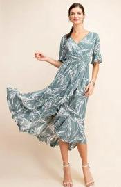 Molly Palm Print Dress in Sage