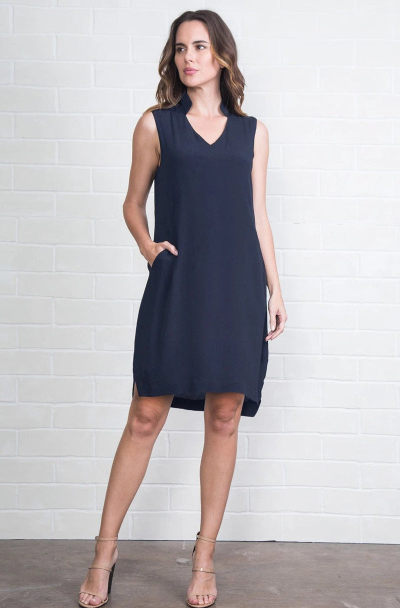 Bishop Collar Pocket Dress