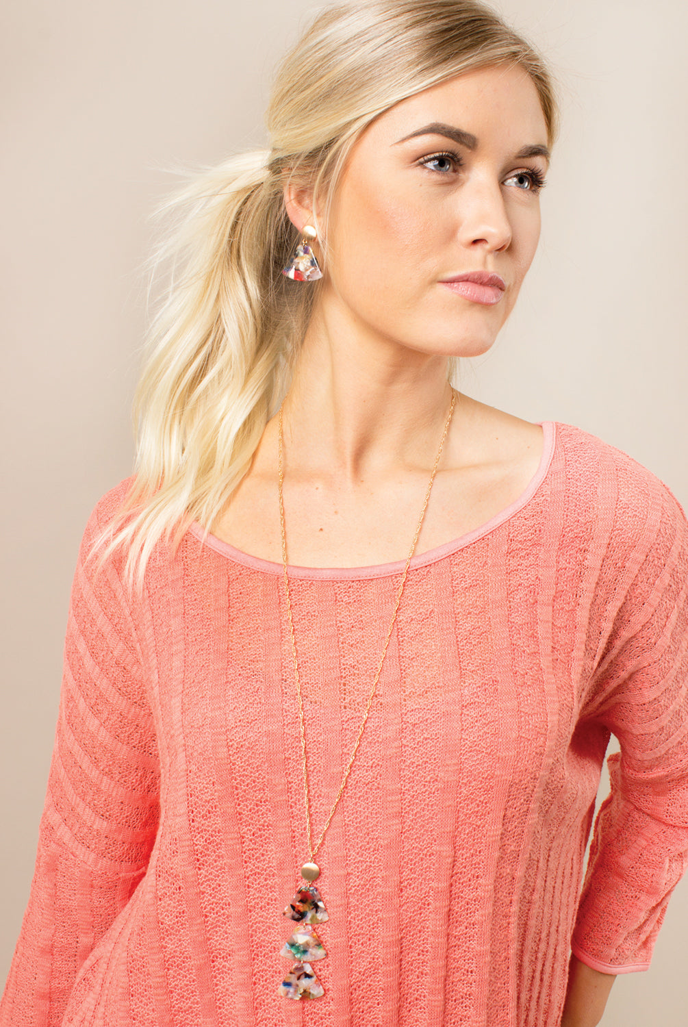 Feeling Groovy Tiered Triangle Necklace