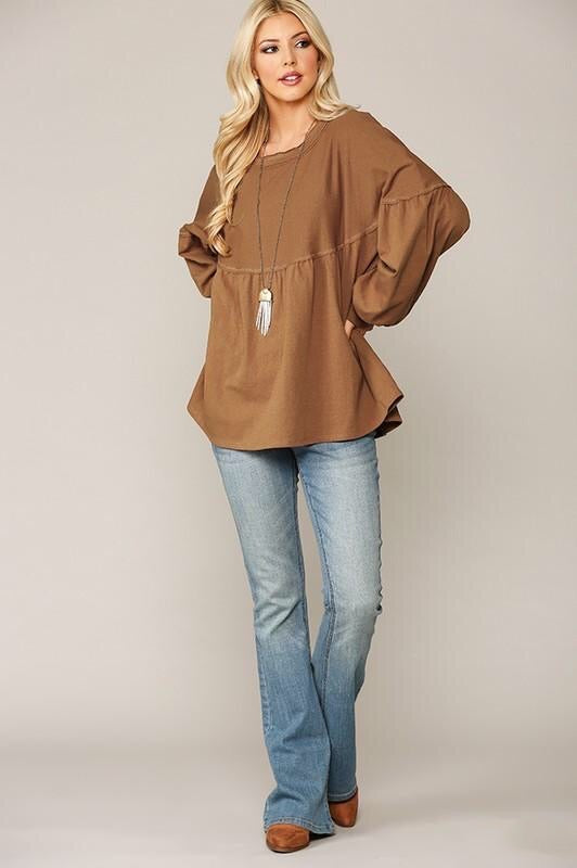 Finley Balloon Sleeve Top in Camel