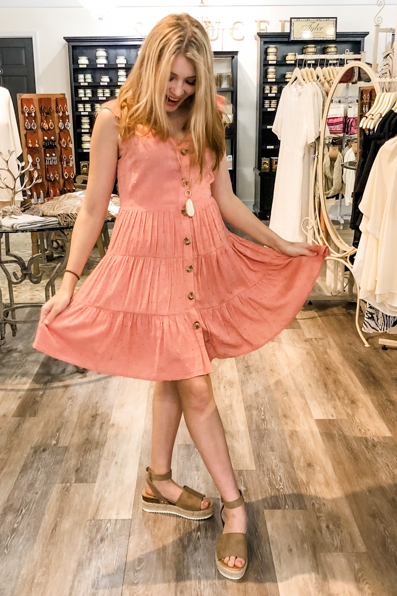 Brinley Tiered Dress in Dusty Rose