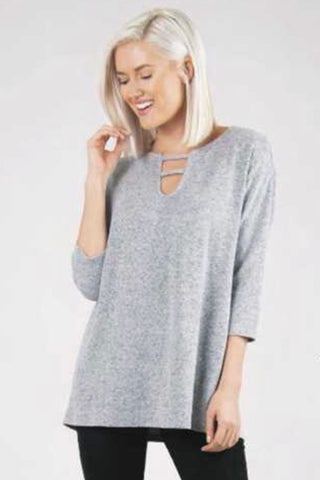 Eliza Twisted Sleeve Top in Steel