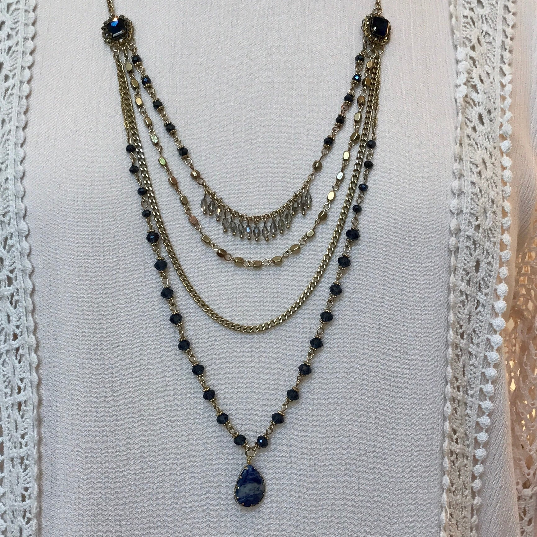 long beaded necklace blue tiered three ayana