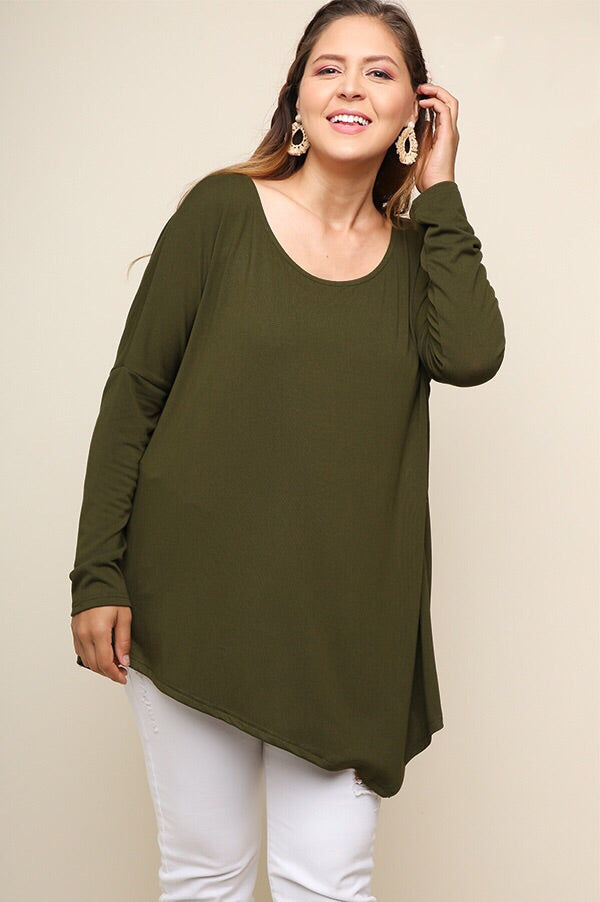 Megan PLUS Top in Olive