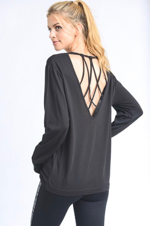 Cameron Open Back Top in Black