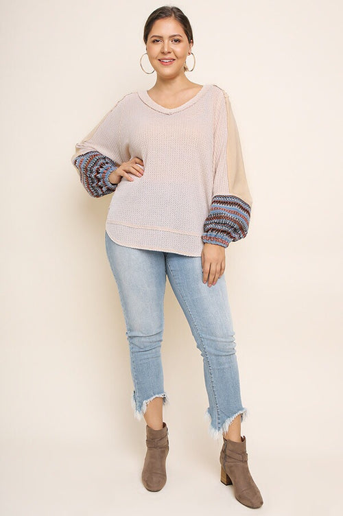Madison PLUS Waffle Knit Top in Cream