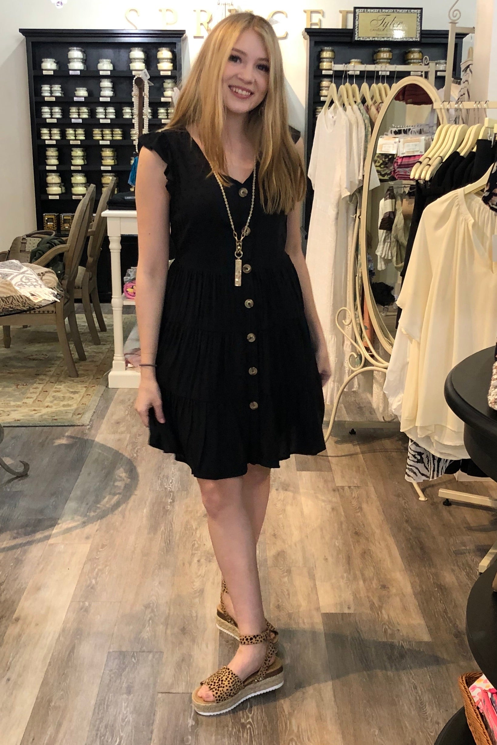Brinley Tiered Dress in Black