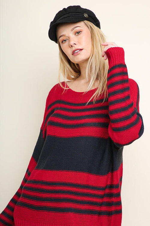 Camille Striped Sweater in Navy and Red