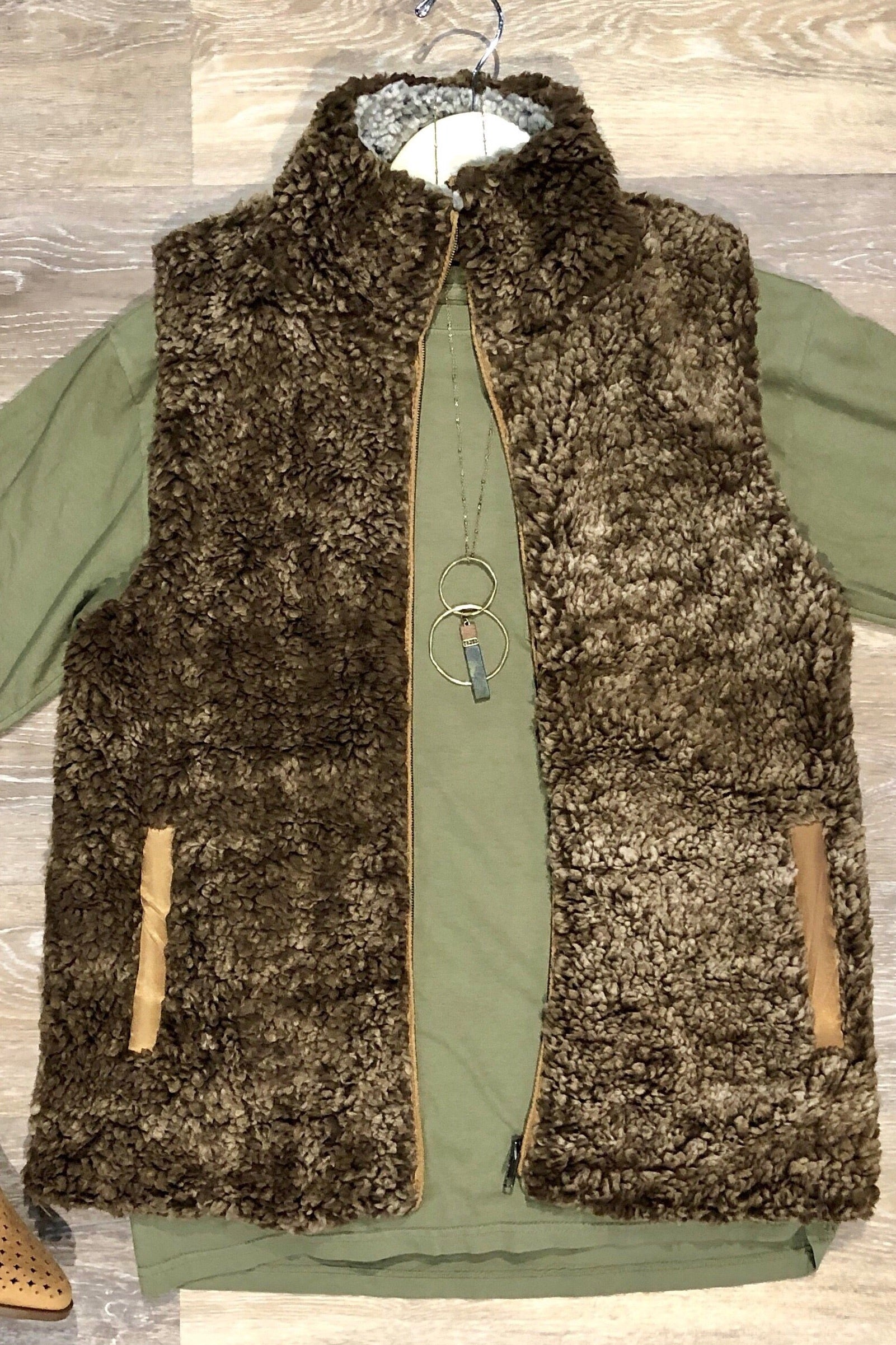 Katydid Sherpa Vest in Brown