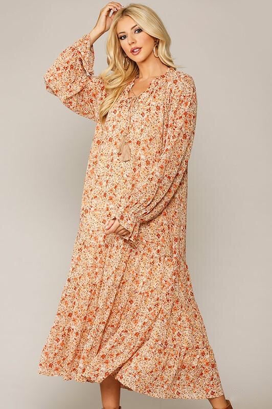 Eva Floral Dress in Natural