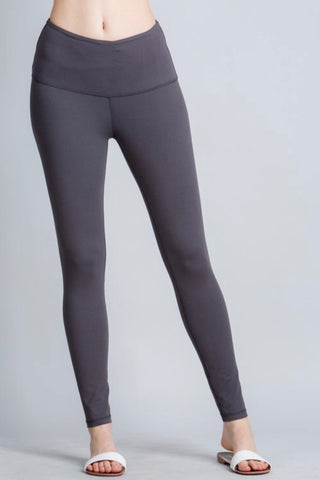 Yoga Waistband Leggings in Burgundy