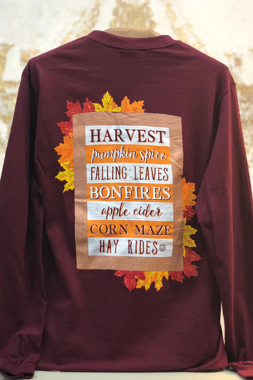 Girlie Girl Originals Fall Sign Long Sleeve T-Shirt in Maroon