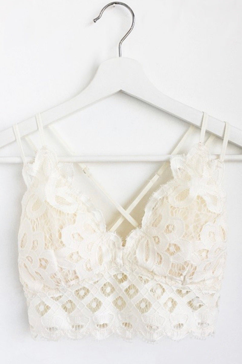 Double Strap Scalloped Lace Bralette in Off White