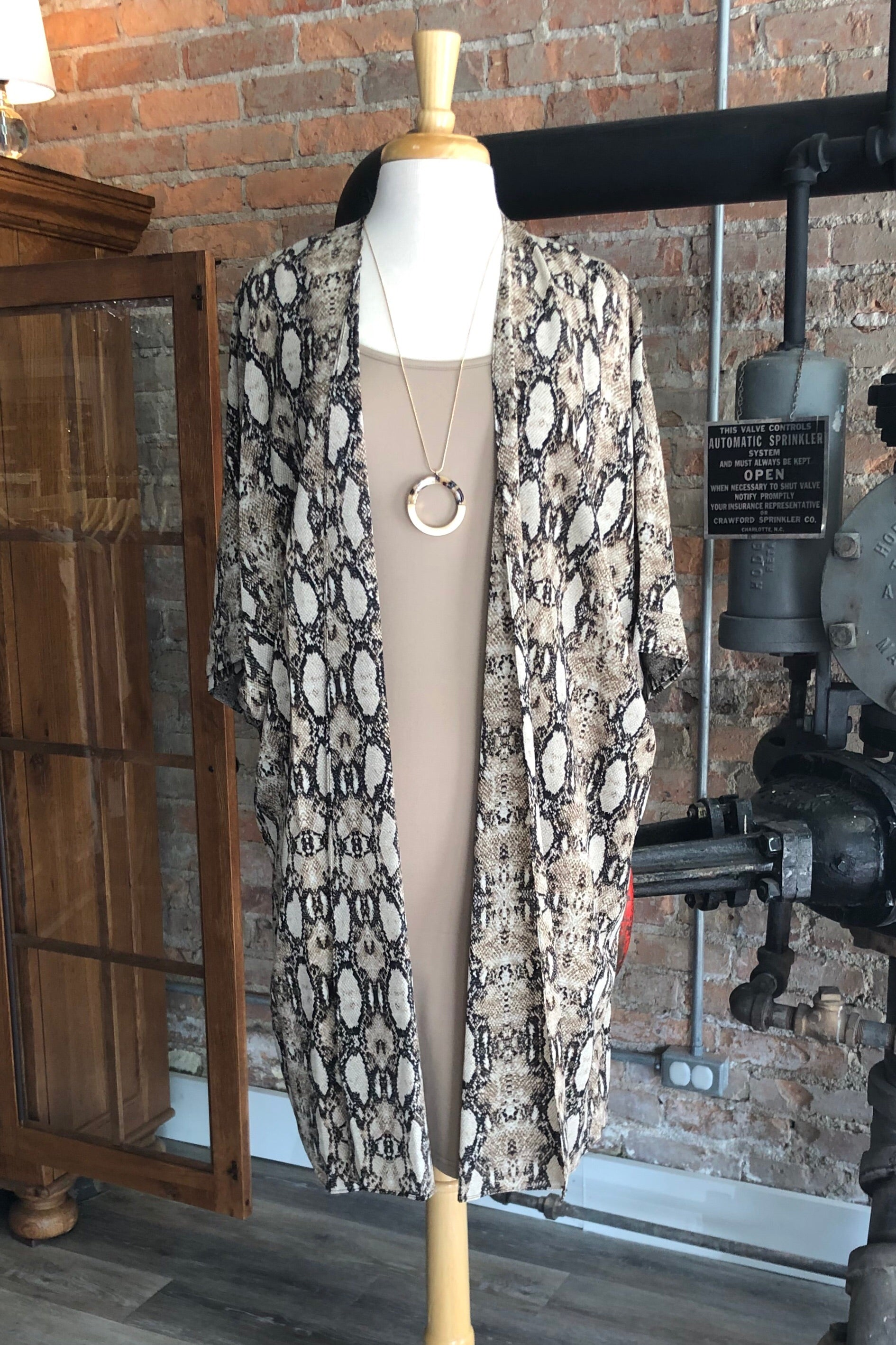 Halee Cardigan in Taupe Snake