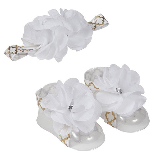Magnolia Headband & Ribbon Sandal Set