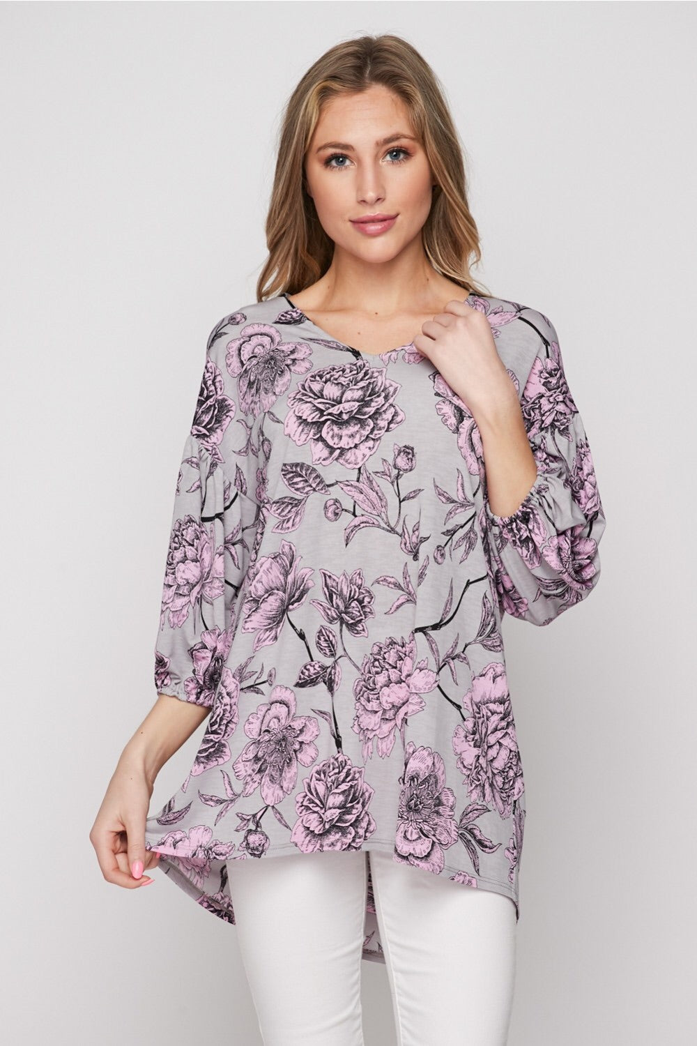 Veronica Floral Top in Lavender