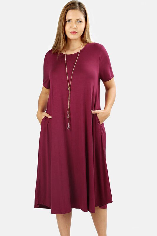 Kelli PLUS Midi Dress in Burgundy