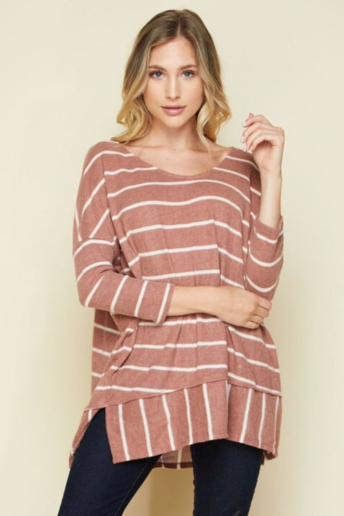Bree PLUS Brushed Jersey Knit Top in Marsala
