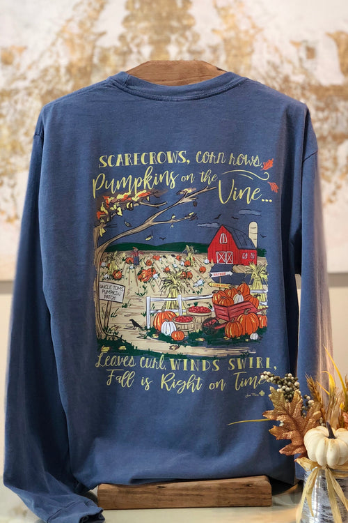 Fall is Right on Time Long Sleeve T-Shirt in Blue Jean