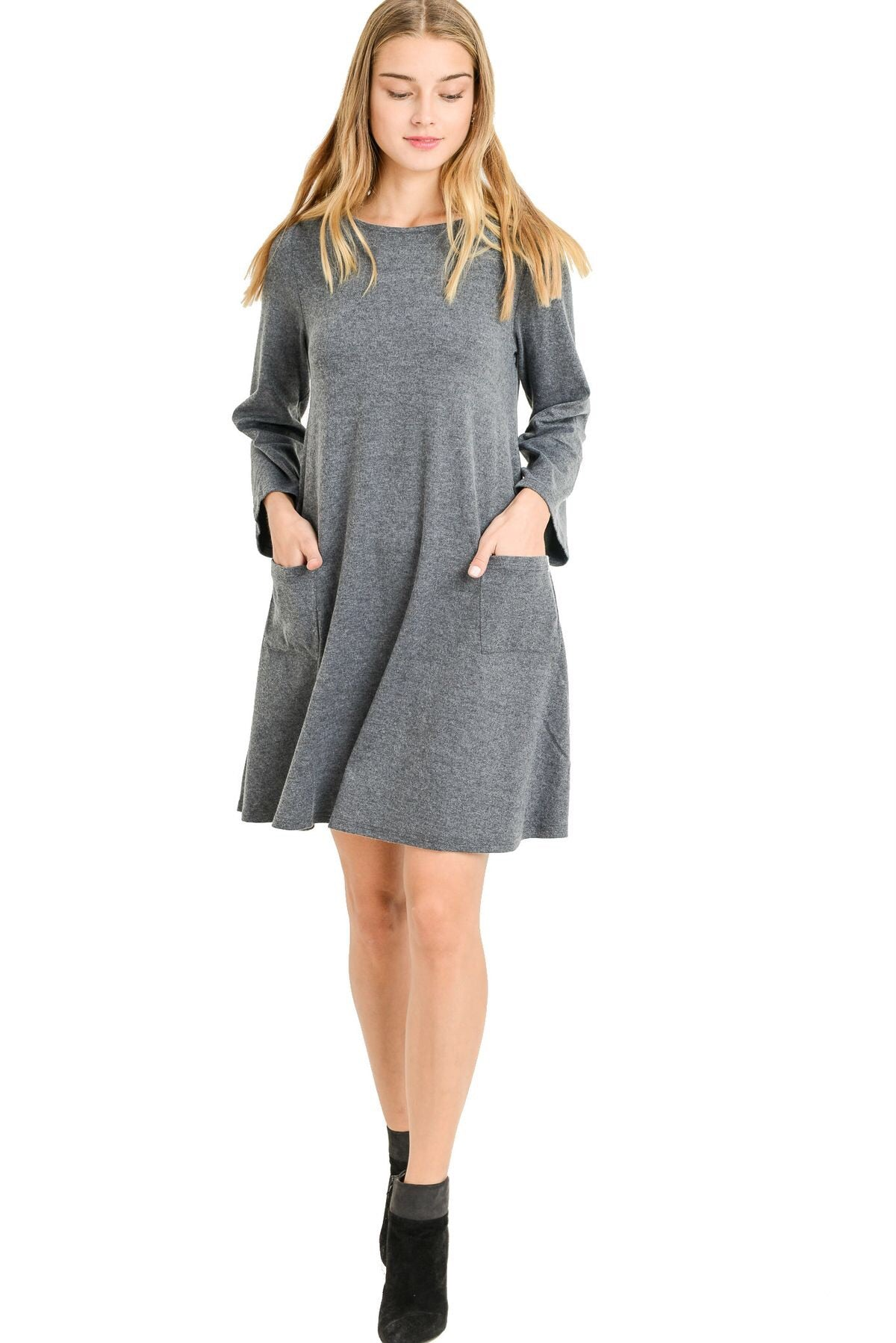 Layla Swing Dress in Dark Gray