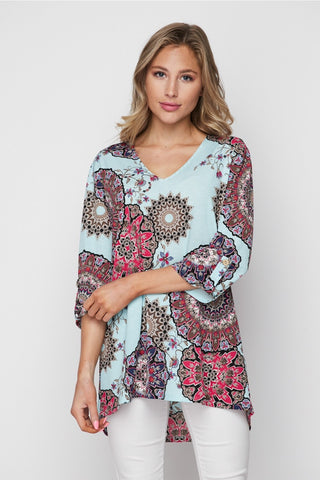 Abril Boho Tunic in Light Gray