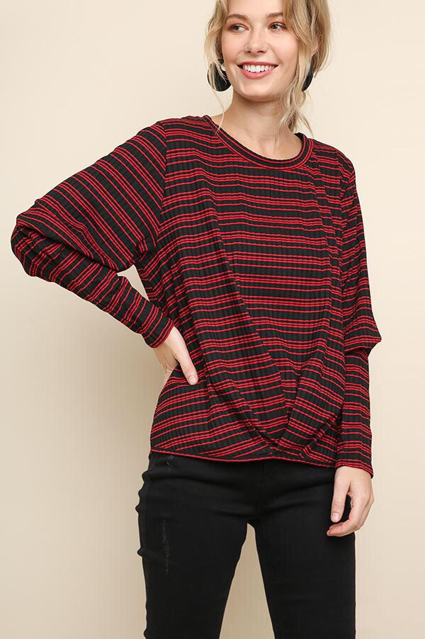 Carlie Striped Puff Sleeve Top in Black and Red