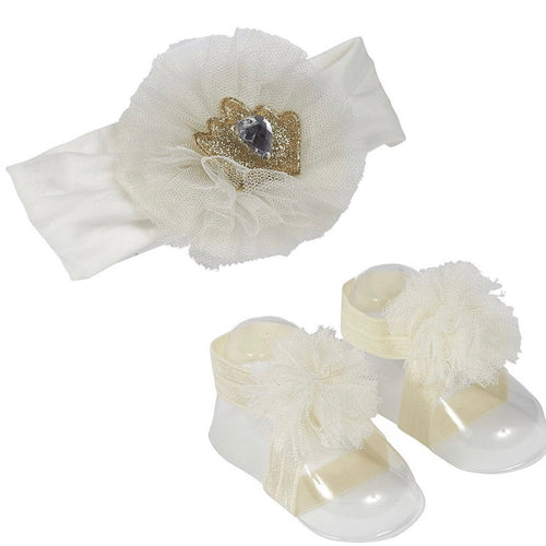 Jewel Crown Headband & Tulle Sandal Set