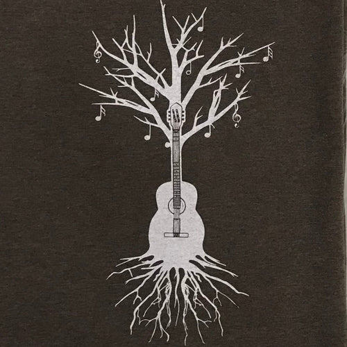 Acoustic Guitar Tree T-Shirt in Brown
