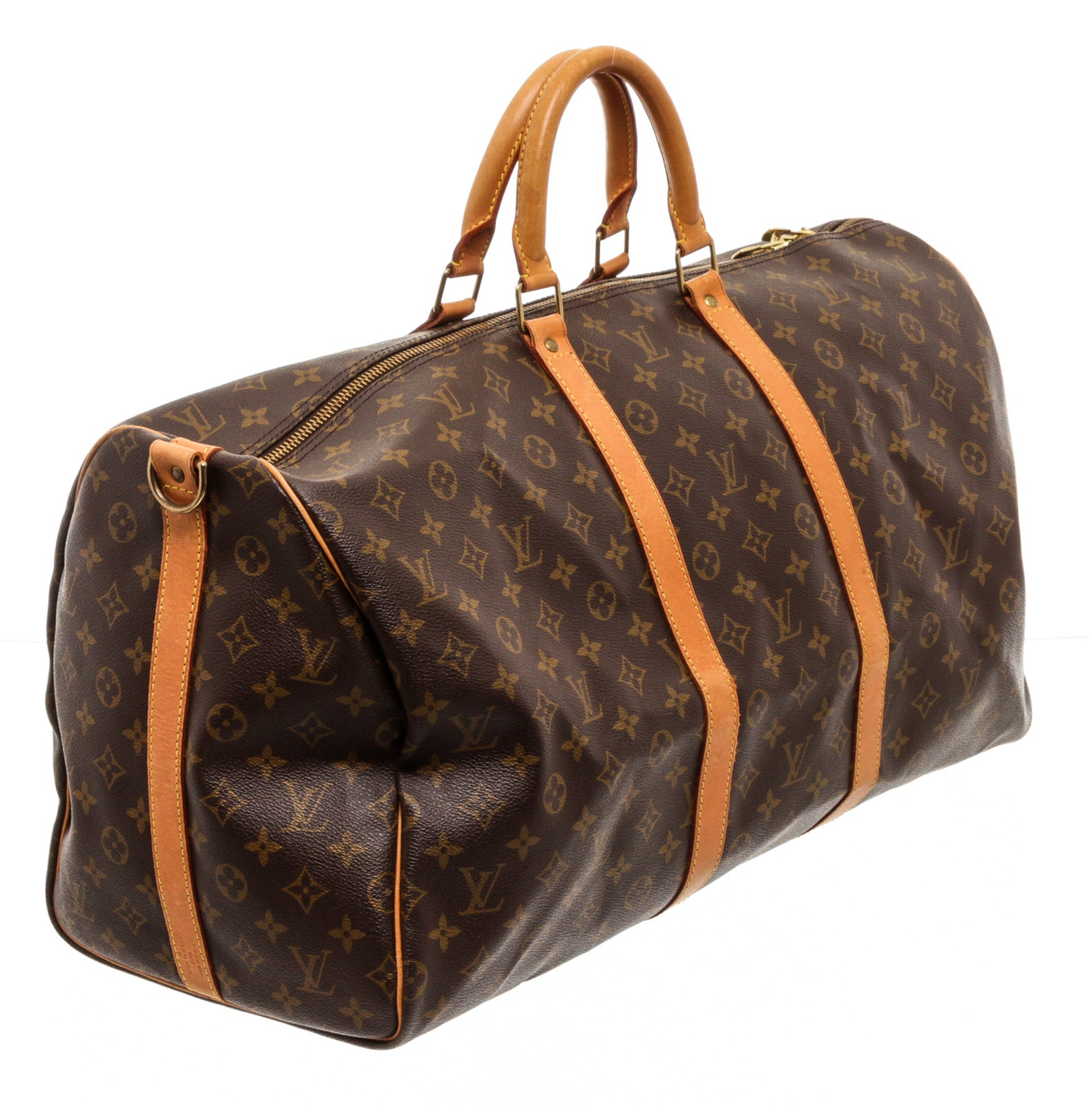 Louis Vuitton Monogram Canvas Leather Keepall 55cm Bandouliere Duffle Bag Luggage