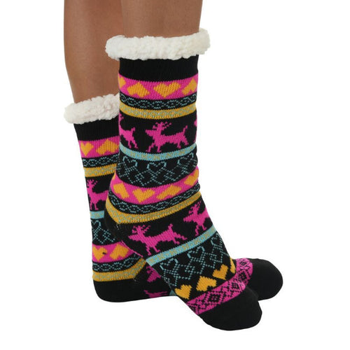 Snoozies!® Sherpa Lined Knit Socks in Nordic Black